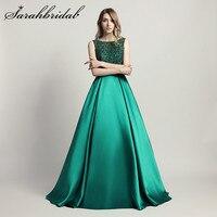 Stunning Beaded Long Evening Dresses O Neck Illusion Back A Line Satin Green Vestido Longo Floor