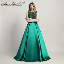 Stunning Beaded Long Evening Dresses O Neck Illusion Back A Line Satin Green Vestido Longo Floor Length Prom Formal Gowns LX443