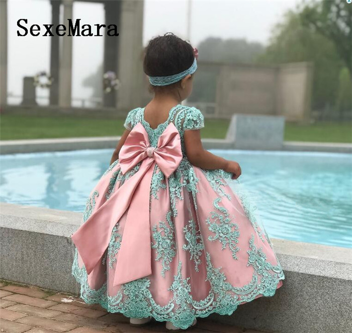 цена на Blue Lace Pink Lining New Baby Girls First Birthday Dress O Neck Ball Gown Little Princess Christmas Dress Wedding Party Gown