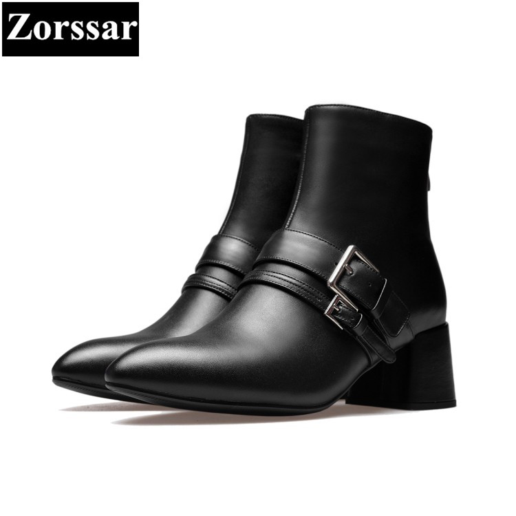 {Zorssar} 2018 Autumn Ladies shoes fashion buckle Genuine Leather thick heel ankle boots women High Heels pointed toe Short boot sfzb new square toe lace up genuine leather solid nude women ankle boots thick heel brand women shoes causal motorcycles boot
