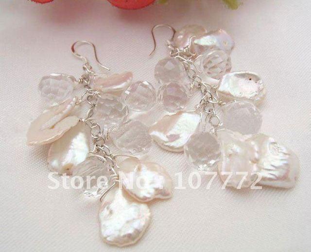 GREAT! 17 mm White Reborn Keshi Pearl&Crystal Earrings