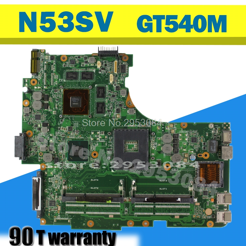 Original for Asus N53S N53SV Rev 2.0 2 slots GT540M 2G USB3.0 2.0 N12P-GS-A1 HM65 PGA989 laptop motherboard 100% fully tested pcm 3866 isa1 rev a1 03 1 pn1906386623 power board fittings of a machine tested well original