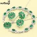 Verde Esmeralda Conjuntos de Jóias de Moda de Nova Prata Cor Imitado Sublime Colar Anéis Brincos Pulseira de Casamento Para As Mulheres