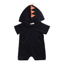 Summer Baby Boys Rompers Infant Toddler Short Sleeve Hooded Jumpsuits Outfits Clothes Dinosaur shape Clothing