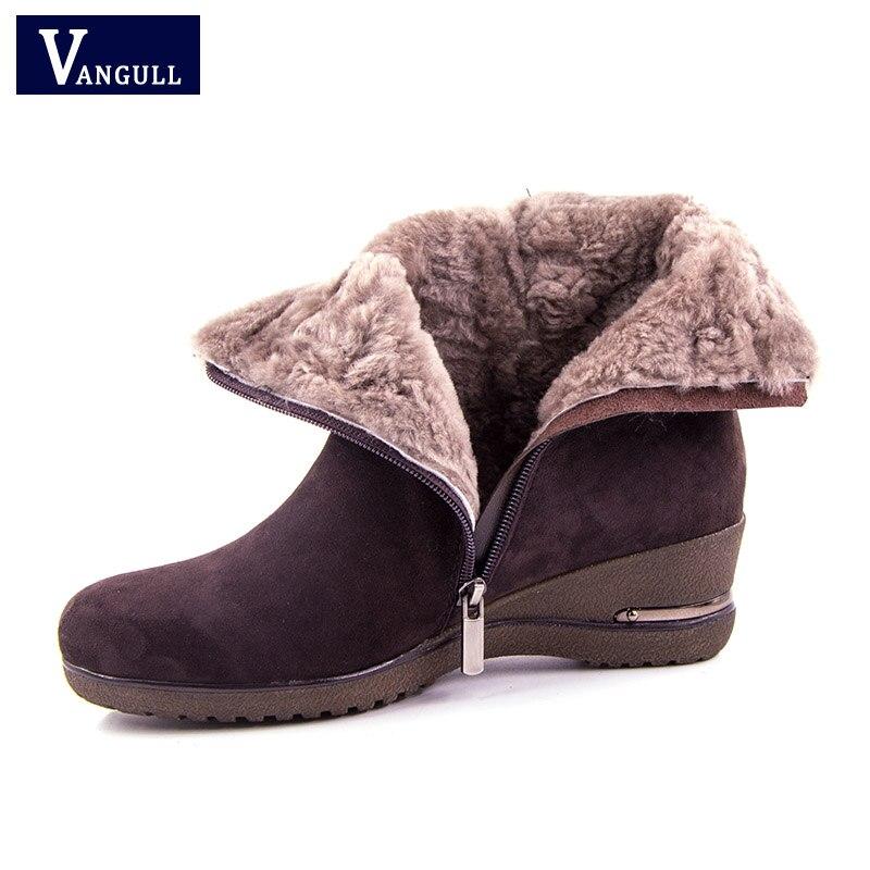 Vangull جديد الشتاء الأغنام الجلد المدبوغ أحذية نسائية 2018 الصوف الفراء أفخم الشتاء الأحذية عالية الجودة حقيقية أحذية جلدية حذاء من الجلد-في أحذية الكاحل من أحذية على  مجموعة 1