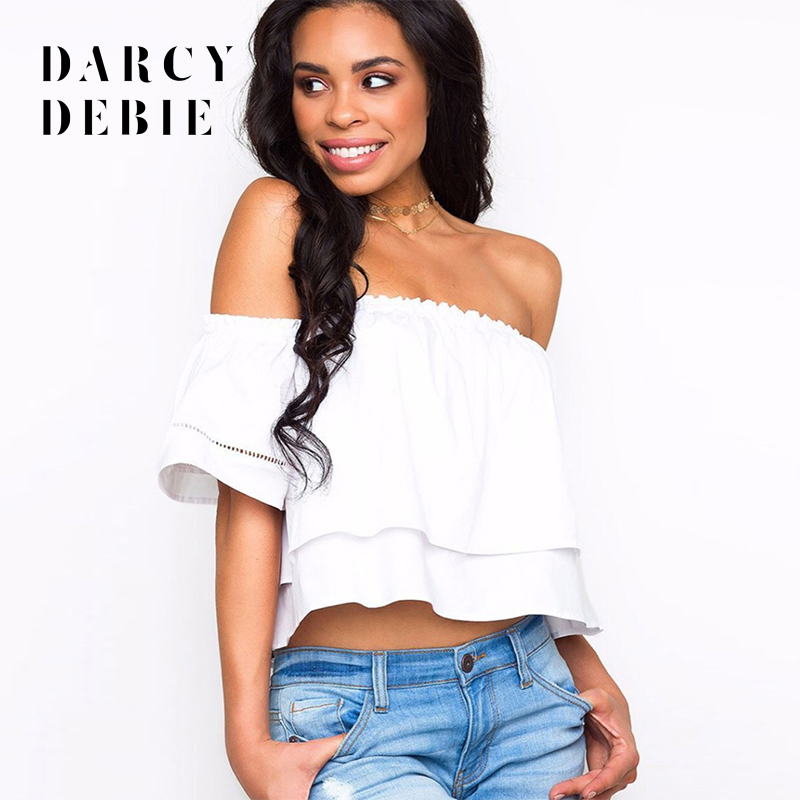 Darcydebie New pure color coat sexy sexy one word led falbala midriff t-shirts short