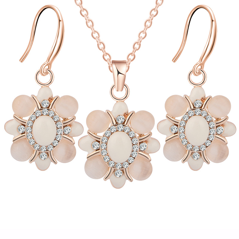 CBO11 Fashion bride suit opal flower mosaic crystal necklace earring set