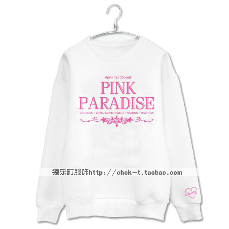 Apink 1er concert Eun Ji Bo Mi même rose paradis impression o cou sweat mode kpop pull hoodies moletom