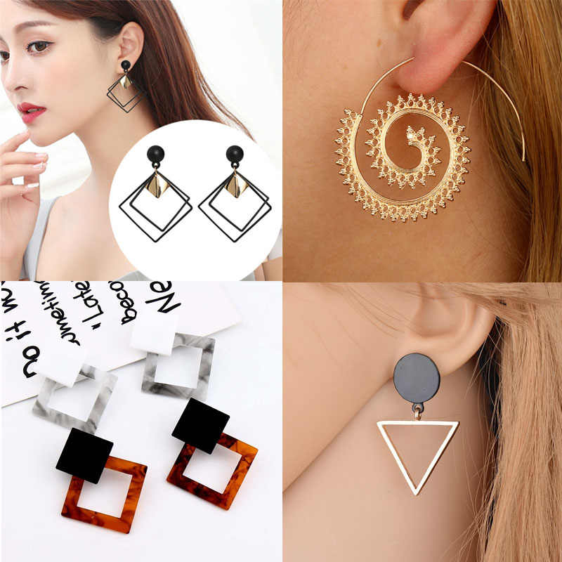 Korean Sequins Geometric Earring Women Jewelry Temperament Long Matte Pendant Earrings Elegant Statement Earrings Bijoux Female
