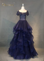 Short Sleeves Beaded Evening Dresses Party Elegant Gowns Champagne Tulle Vestidos De Festa Vestido Longo Robe De Soiree