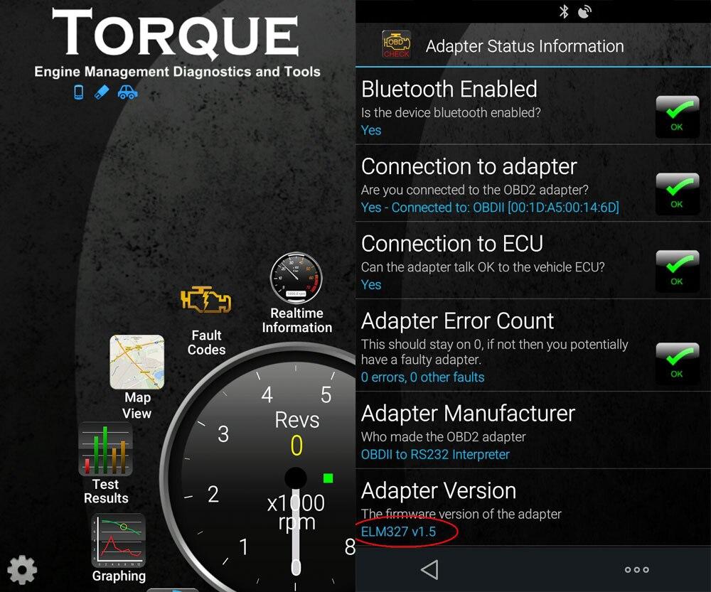 For Android OBD2 ELM327 v1.5 PIC18F25K80 chip Bluetooth 2.0 Car Diagnostic Tool Mini elm 327 V1.5 OBD Scanner Fault Code Reader