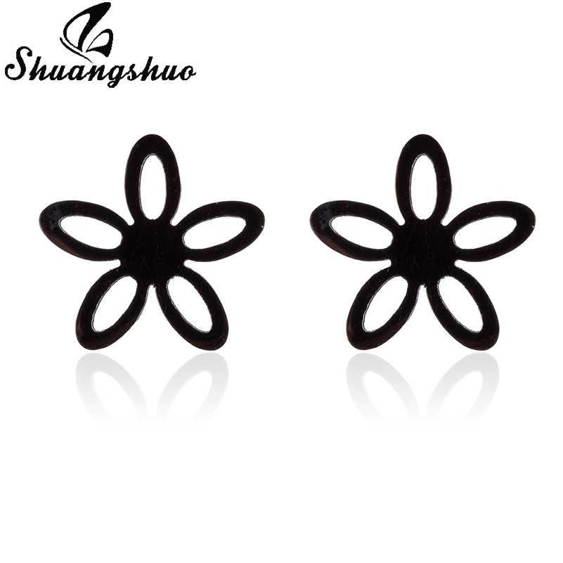 Shuangshuo ขนาดเล็กดอกไม้สแตนเลสสตีลต่างหู Studs ต่างหู Vintage เครื่องประดับ Boucle D'oreille femme