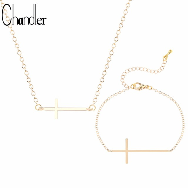 Chandler silver gold color jesus cross pendant necklaces bracelet chandler silver gold color jesus cross pendant necklaces bracelet for women religious long cross statement ethnic aloadofball Images