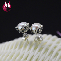 Luxury 7mm Natural Pearl Earrings Vintage Flower 100 925 Sterling Silver Earrings For Women Exquisite Silver