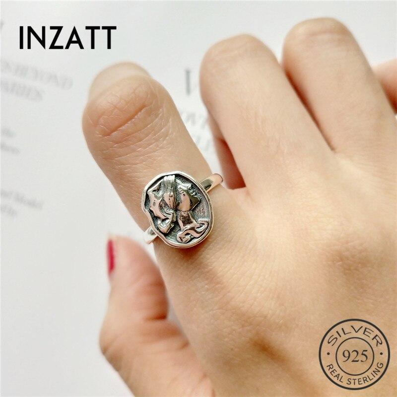 INZATT 100% 925 Sterling Silver Irregular Round Vintage Portrait Openwork Ring Personality Fine Jewelry For Bague Femme Mode