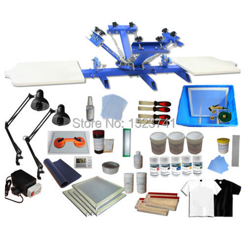 348d08d1 4 Color 2 Station T-shirt Silk Screen Printing Press kit Exposure Unit &  Material & inks supply full set diy package