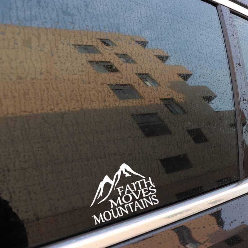 FAITH MOVES MOUNTAINS Vinyl Decal Car Bumper Window Laptop Art Sticker Removable