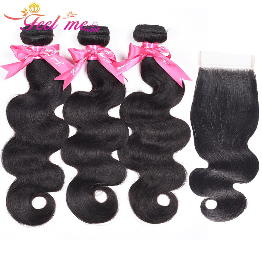 FELL ME Body Wave Human Hair Bundles With Closure 4X4 Brazilian Hair Weave 3 Bundles with Free Part Closure Non Remy Hair
