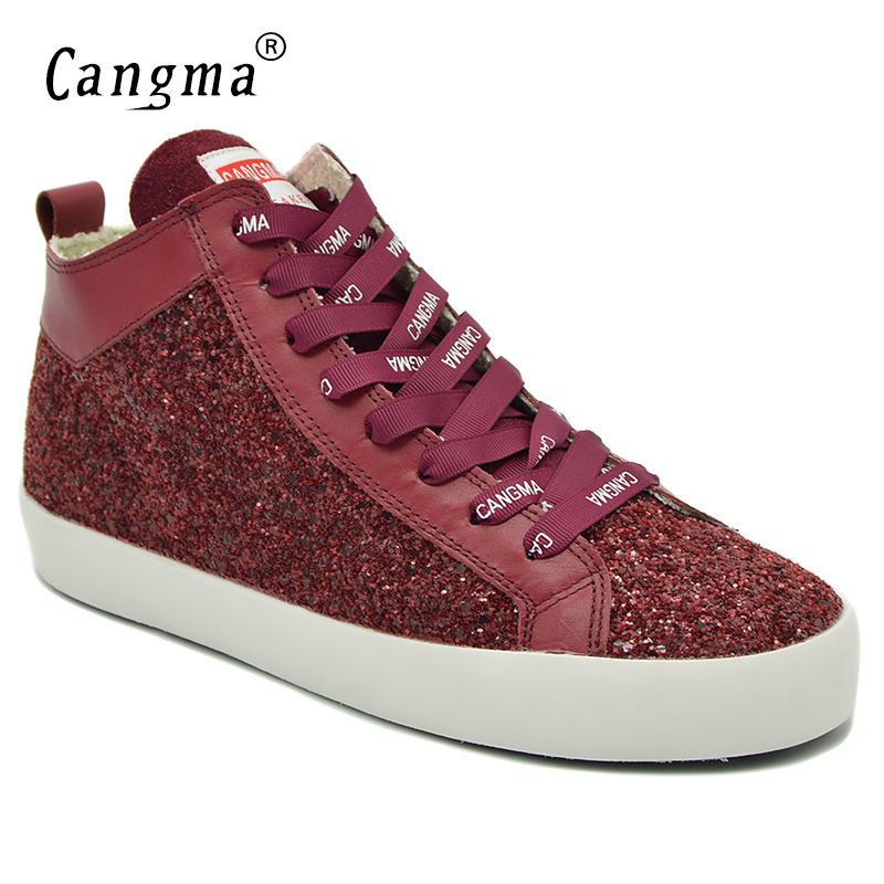 CANGMA Breathable Stylish Woman's Sequined Wine Red Shoes Mid Casual Shoes Women Sneakers For Girls Glitter Footwear Female stylish water ripple pattern 6cm width wine red tie for men