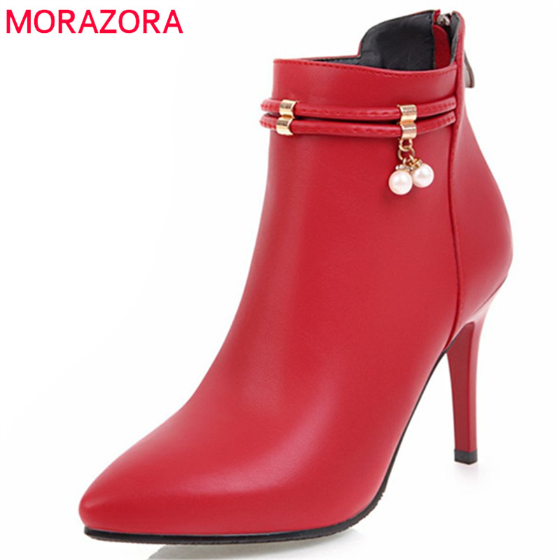 MORAZORA Sexy lady pointed toe thin heels shoes woman party ankle boots for women PU soft leather fashion boots female gzx101206 fashion woman thin high heels pu pump lady plus big size sexy pointed toe shoes woman wedding shoes t strap 10cm 12cm