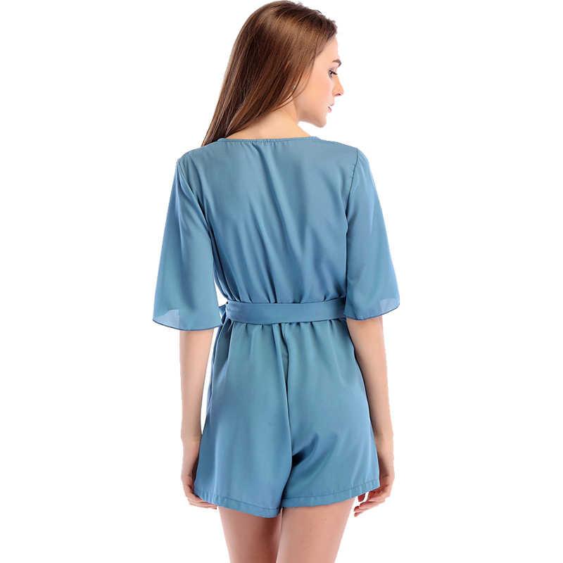 LORDXX Playsuits Vrouwen Sexy Diepe V-hals Casual Solid Slim Tie Bodysuit Chiffon Pure 2018 Nieuwe Zomer Mode Kleding
