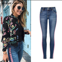 Women Skinny Jeans With Stripes Trousers Female Denim Jeans For Woman Plus Size Push Up Ladies Jeans Trousers Pencil Pants