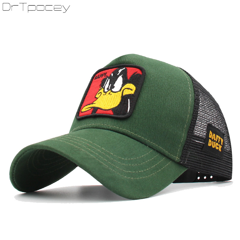 Animals Embroidery Duffy Duck   Baseball     Caps   Men Women Snapback Hip Hop Hat Summer Breathable Mesh Gorras Unisex Streetwear Bone