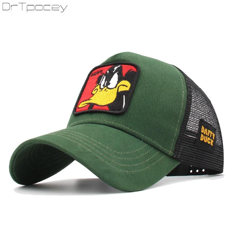 Animals Embroidery Duffy Duck   Baseball     Caps   Men Women Snapback Hip Hop Hat Summer Breathable Mesh Gorras Unisex Streetwear Bone