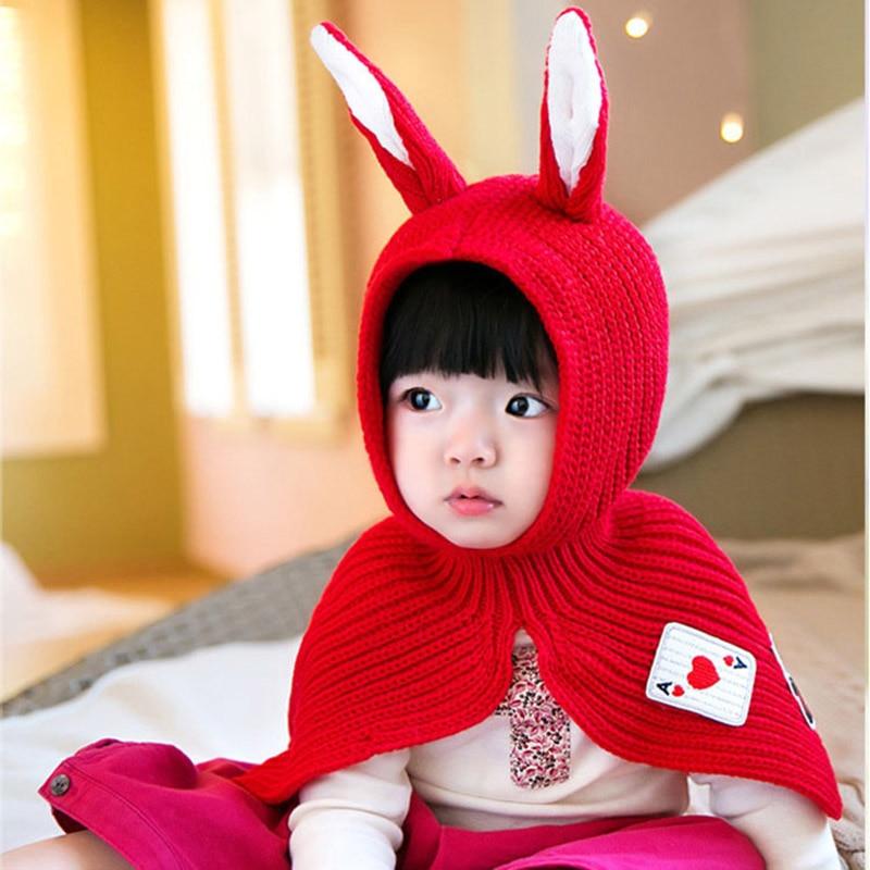 Cute Baby Girls Boys Winter Hats & Caps Knitting Rabbit Ears Hats Chidren Shawl Kids Wool Hat Clothes Accessories Infant Chapeus