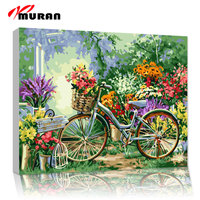 MURAN Diy Oil Painting By Numbers Landscape Bicycle Decorative Canvas Painting Calligraphy Coloring By Number