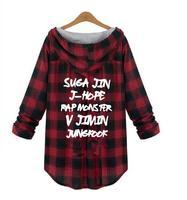 kpop BTS Bangtan Boys jung kook women hoody Spring autumn Plaid Outerwear Long Sleeve Sweatshirts Women's Loose XL XXXXL Hoodies