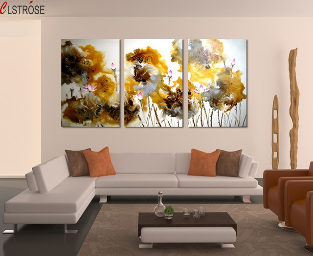 contemporary artwork living room the best color for clstrose chinese ink art canvas prints flower painting 3 piece wall paintings