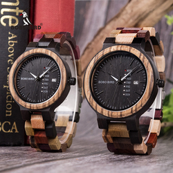 BOBO BIRD Wood Watch Fashion Reloj para hombres Men Women Quartz Wristwatch Week Display Auto Date Face relogio masculino P14-4