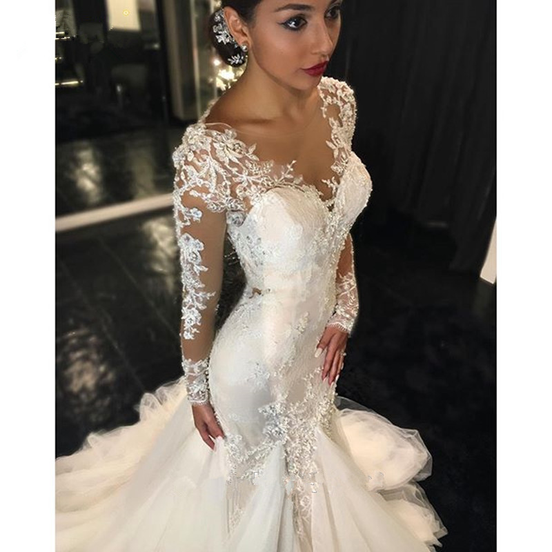 See Through Vestido De Noiva 2019 Muslim Wedding Dresses Mermaid Long Sleeves Lace Beaded Dubai Arabic Wedding Gown Bridal