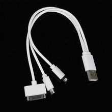 Mobile Phone Quick Charge Cable 3 in 1 Short Charging Cable for iPhone 4 4S 5 5S 5C 6 6S 6 Plus Samsung HTC Android Phones