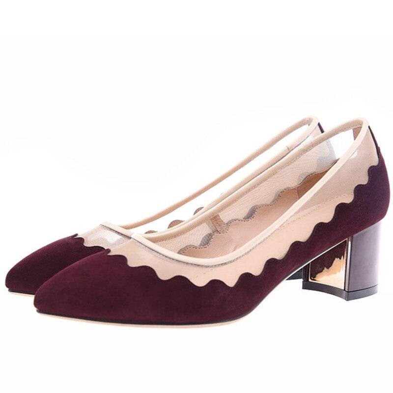 ФОТО top brand women sheepskin genuine leather pumps 2017 wine blue mesh patchwork med heel fashion ladies spring summer office shoes