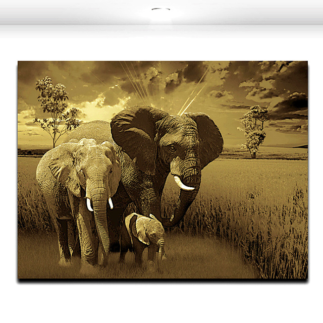 Elephant Family Animal Painting Modern Artworks Mural Art Canvas Printing  For Home Office Wall Decor