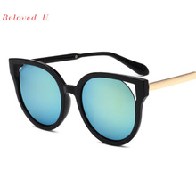 New Arrival Hollow Sunglasses Women 2019 Big Frame Colorful Reflective Sun Glasses Men Eyeglasses
