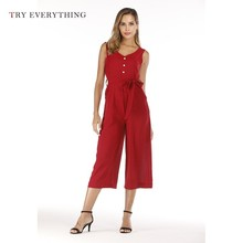 Black Elegant Jumpsuit Women Summer 2019 Red Boho Long Trousers Female Button Backless Cotton For Romper