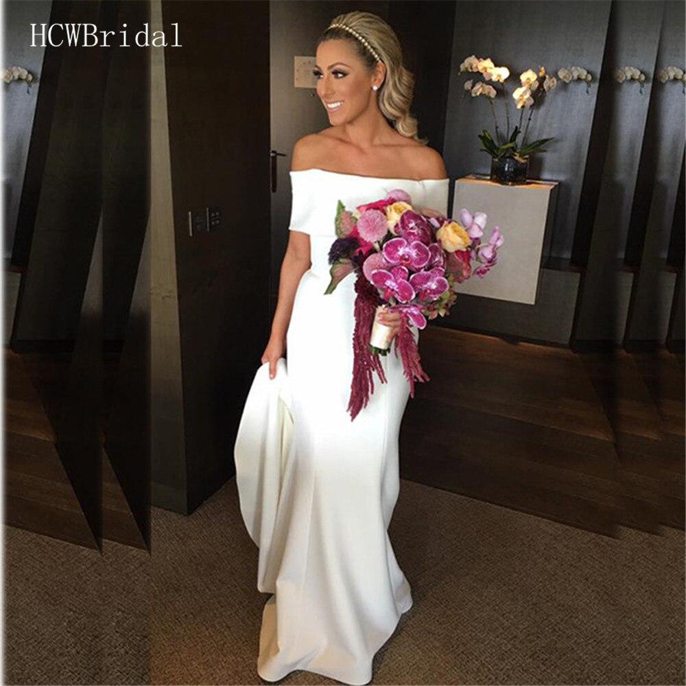 Simple Wedding Dresses Boat Neck: 2019 Simple Mermaid Wedding Dress Short Sleeve Boat Neck