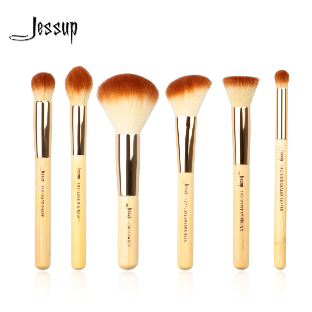 Jessup Marke 6 stücke Bambus Professionelle Make-Up Pinsel Sets Beauty-Tools Make up Pinsel kit Buffer Farbe Wange Highlight Pulver