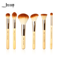 Jessup Brand 8pcs Beauty Bamboo Professional Makeup Brushes Set Make Up Brush Tools Kit Buffer Paint