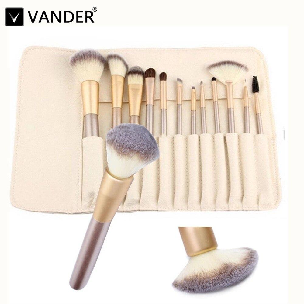 Vander 12 pcs Professionnel Maquillage Brosses Brush Set Polyvalent Cosmétique Mélange Contour pinceaux maquiagem Kits + Étui En Cuir