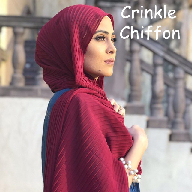 S93 High Quality Crinkle  Chiffon Hijab Scarf Wrap Shawls  Chiffon Hijab Long Wrap Headband