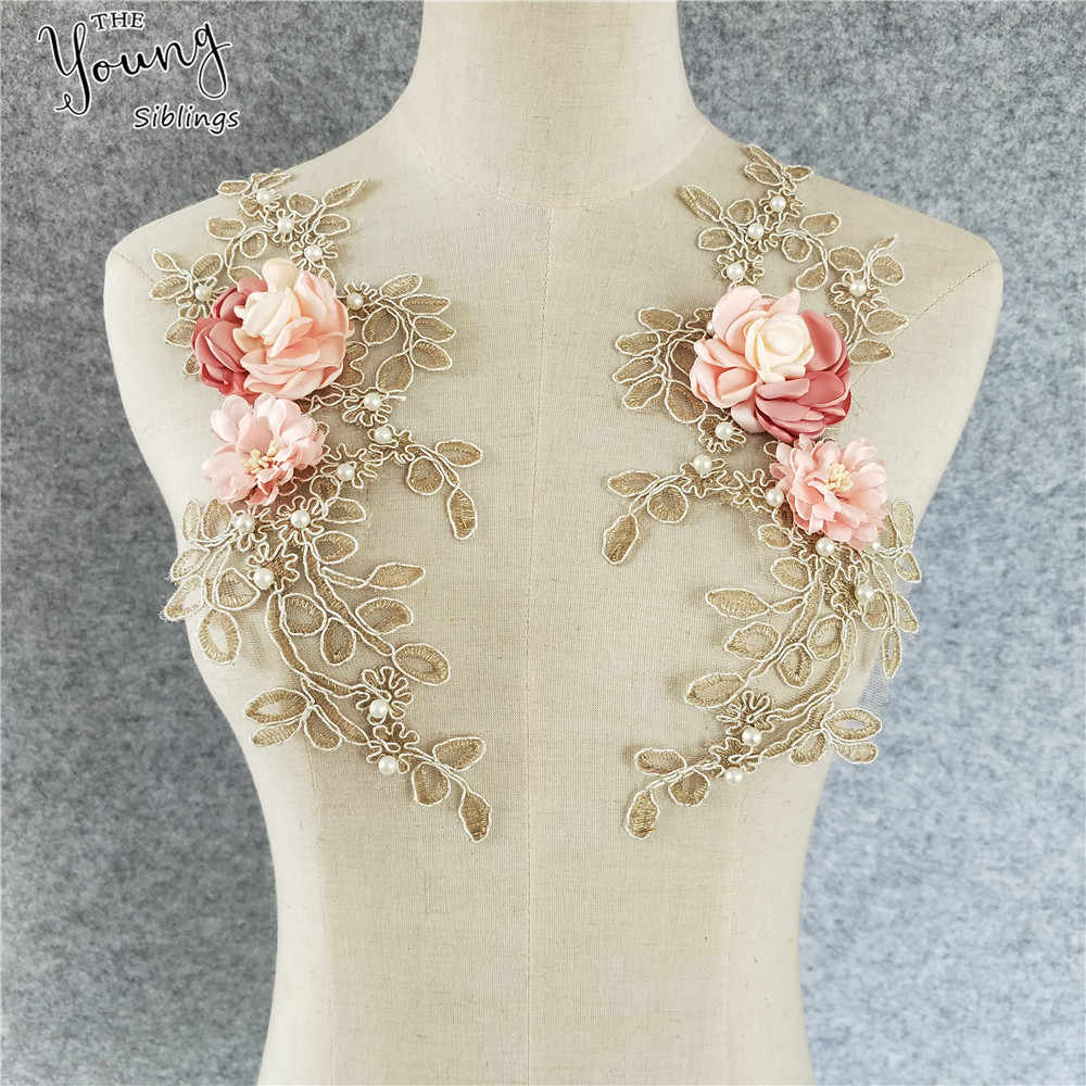 Fine Lace Fabric Trim Sew On Dress Clothing Applique Motif Blouse Sewing emboridery DIY Neckline Collar Costume Decoration
