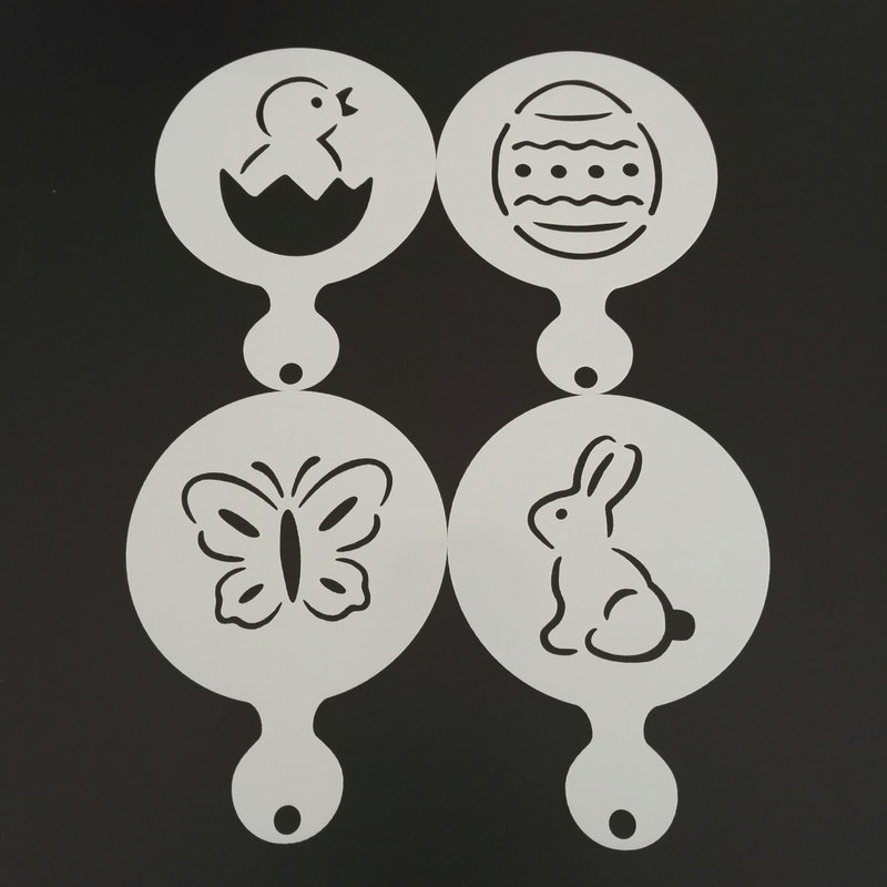 4pcs/set Cartoon Coffee Stencil Cake Decoration Rabbit Duck Butterfly Egg Cupcake Cookie Cappuccino Mold Barista Tools