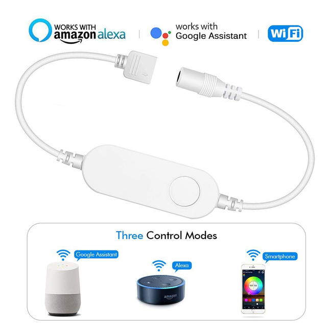 WiFi RGB LED Light Strip Smart Controller timer Control Wireless Voice Control Compatible with Alexa Google IFTTT APP Smart life