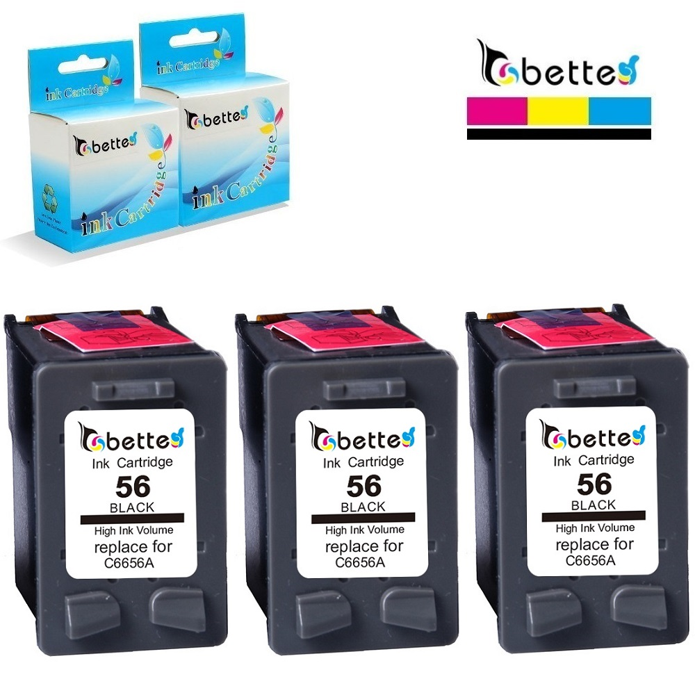 3PK, Refill Ink <font><b>Cartridge</b></font> for <font><b>hp</b></font> 56 hp56 PSC 2212 2310 2405 2410 2510 2510xi 2550 Deskjet <font><b>5550</b></font> 5655 5850 9650 9670 9680 Fax 1240 image