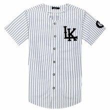 2018 2019 Hot Selled Mannen T shirts Fashion Streetwear Hip Hop Baseball Jersey Gestreepte Shirt Mannen Kleding Tyga Laatste Koningen kleding