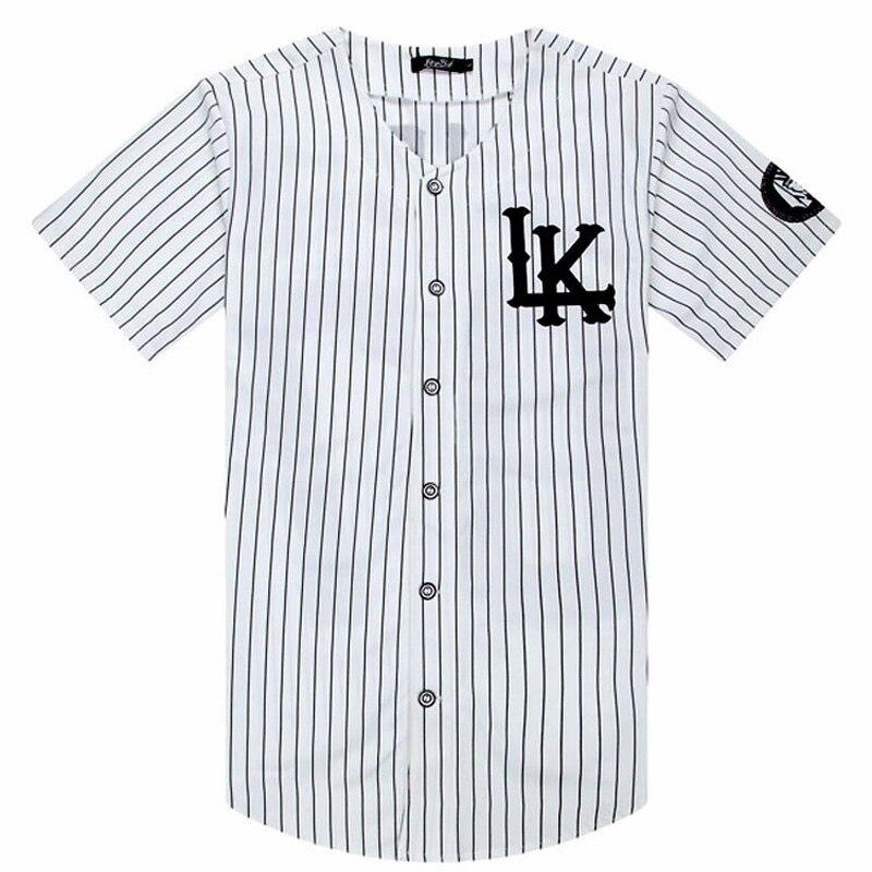 2018-2019 Hot Selled Men T-shirts Fashion Streetwear Hip Hop Baseball Jersey Striped Shirt Men Clothing Tyga Last Kings Clothes